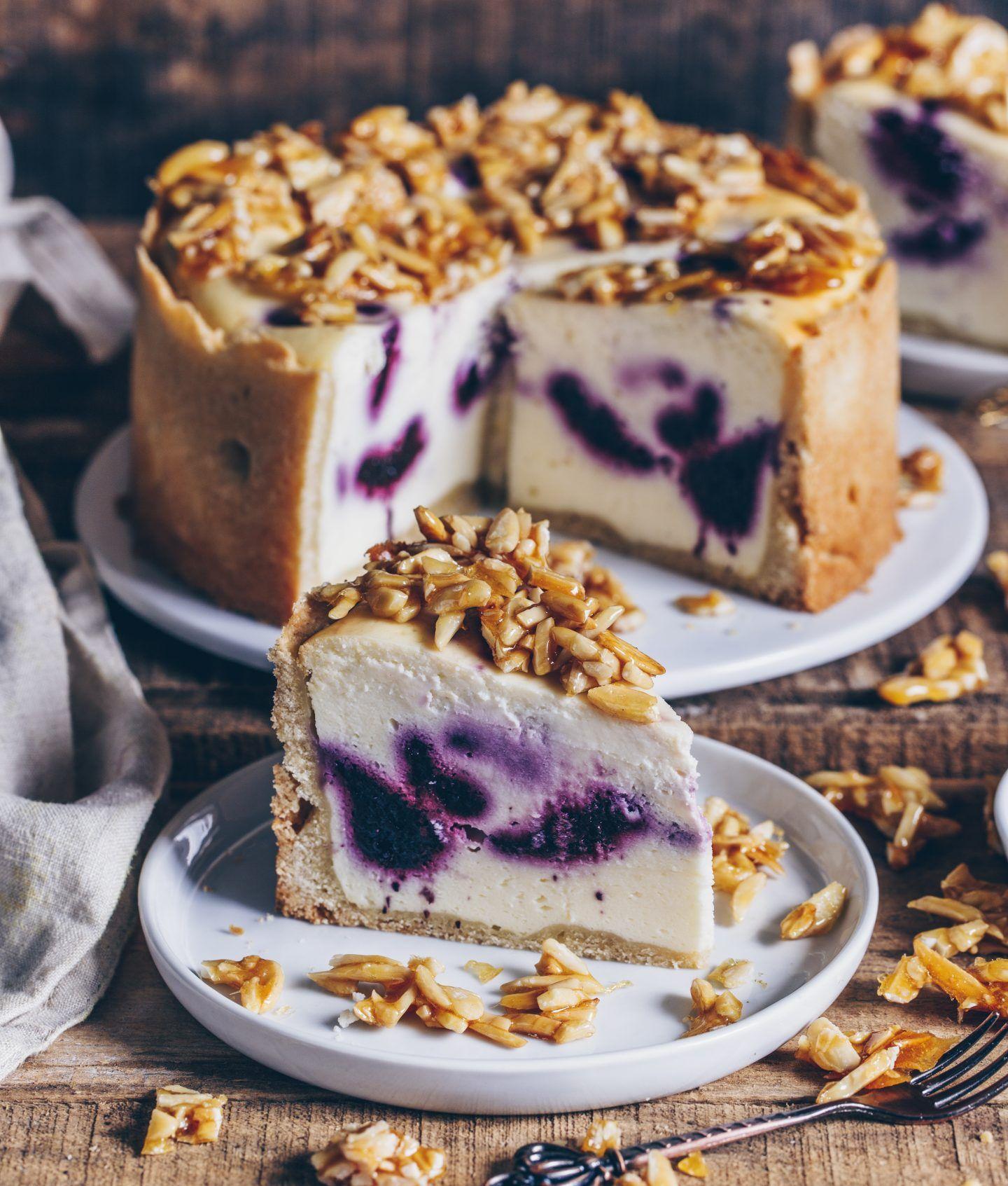 Vegan Blueberry Cheesecake with Almond Brittle - B