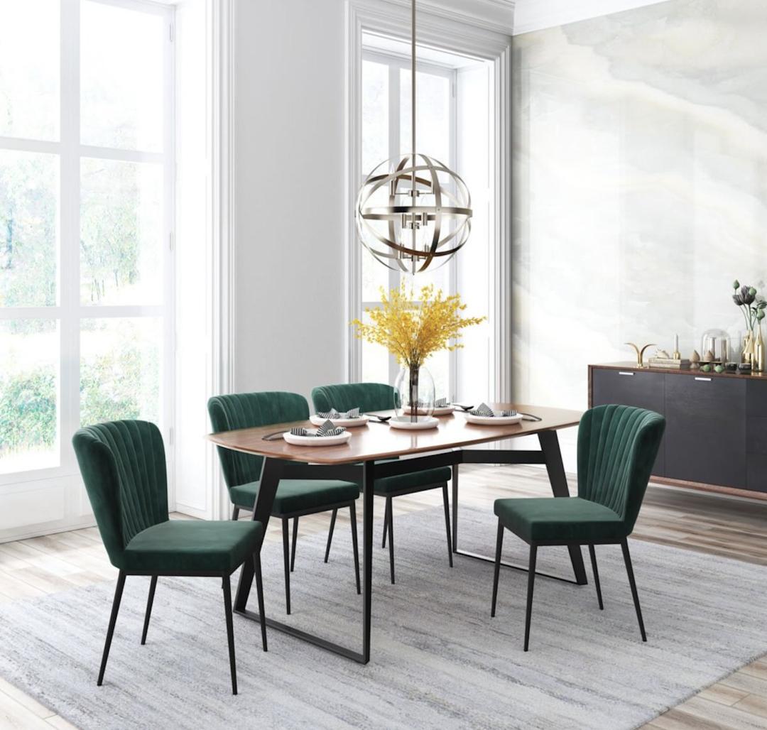 Green Velvet Romo Dining Chair With Black Stainless Steel Legs