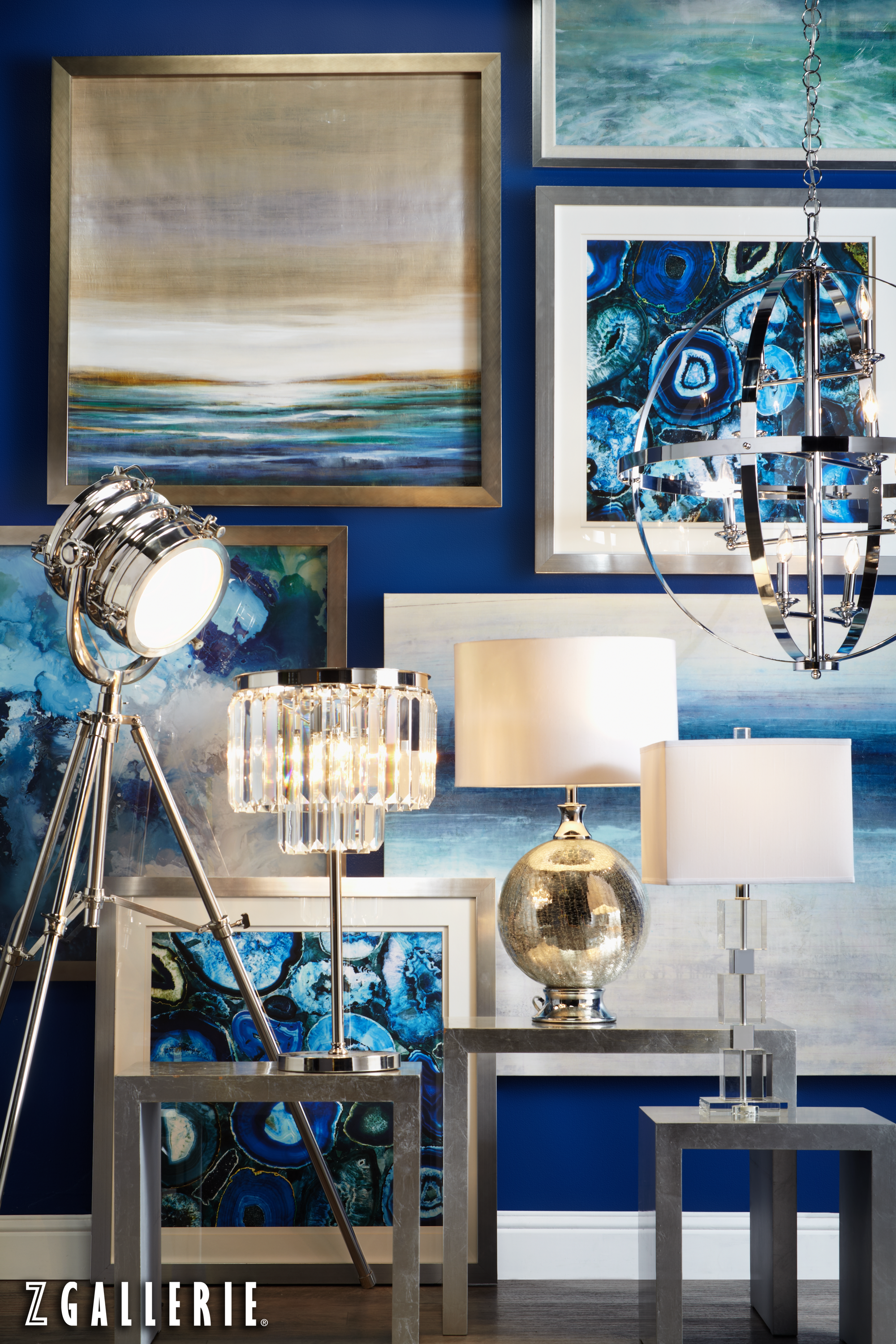blue and silver living room styling