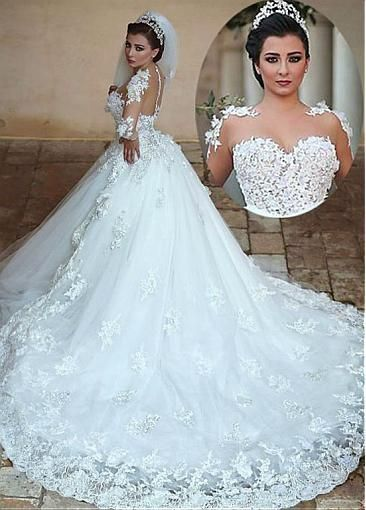Exquisite Tulle Jewel Neckline Ball Gown Wedding Dresses With Lace Appliques