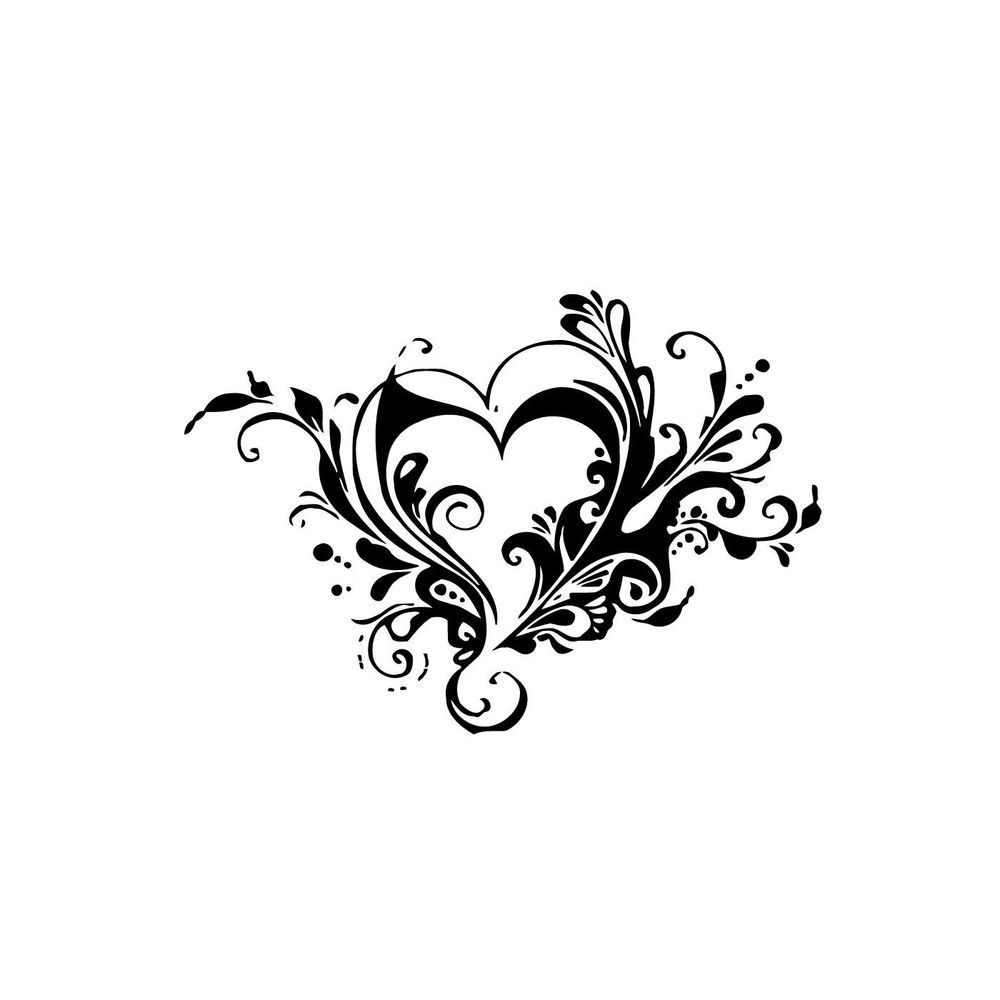 Tribal Flower Heart Vinyl Wall Art Tattoos Unique Tattoos For Women Heart Tattoo