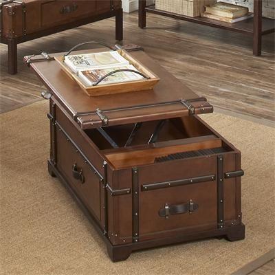 riverside furniture – latitudes steamer trunk lift top coffee