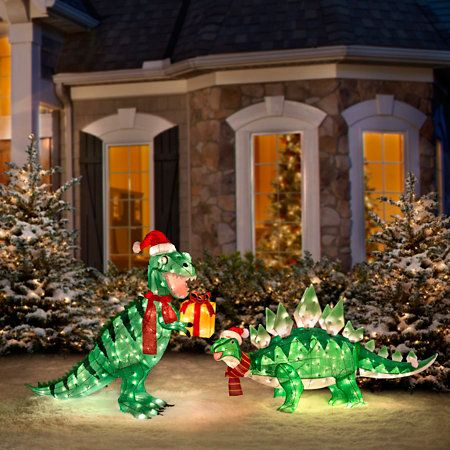 Animated tinsel dinosaur christmas decorations dinosaurs for Animated christmas decorations