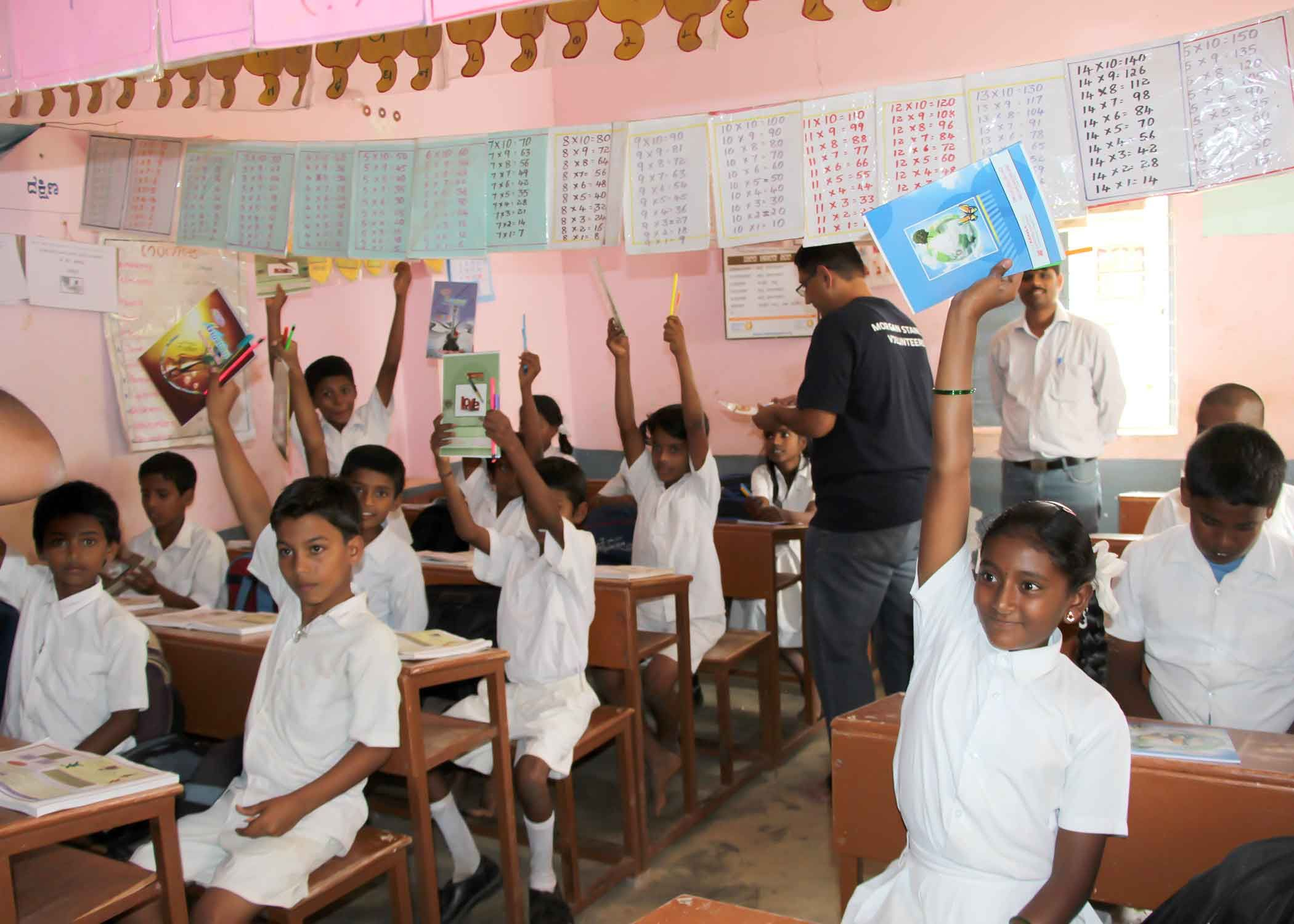 Children participating in a classroom activity—an