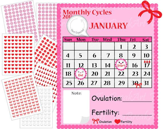 Period Planner  Calendar And Digital Kawaii Stikers Digital