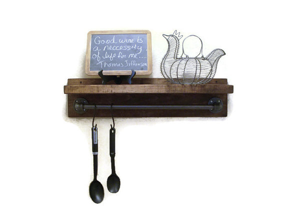 Wall Mounted Industrial Provincial Stain Rustic Shelf