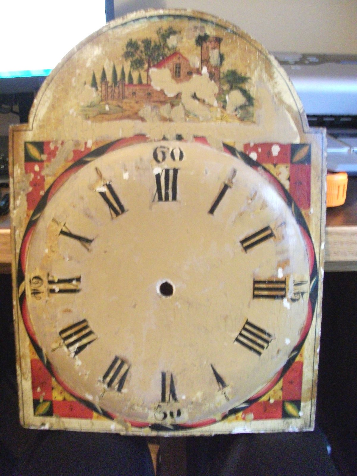 Cool Clock Hands Must See Early Primitive Hand Painted Wood Grandfather