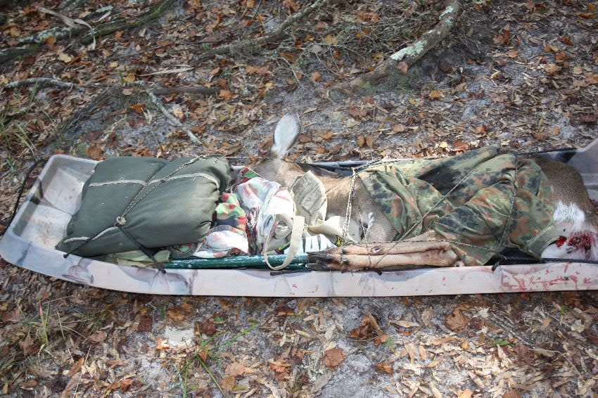 For a guy who hunts alone this plastic sled provides a