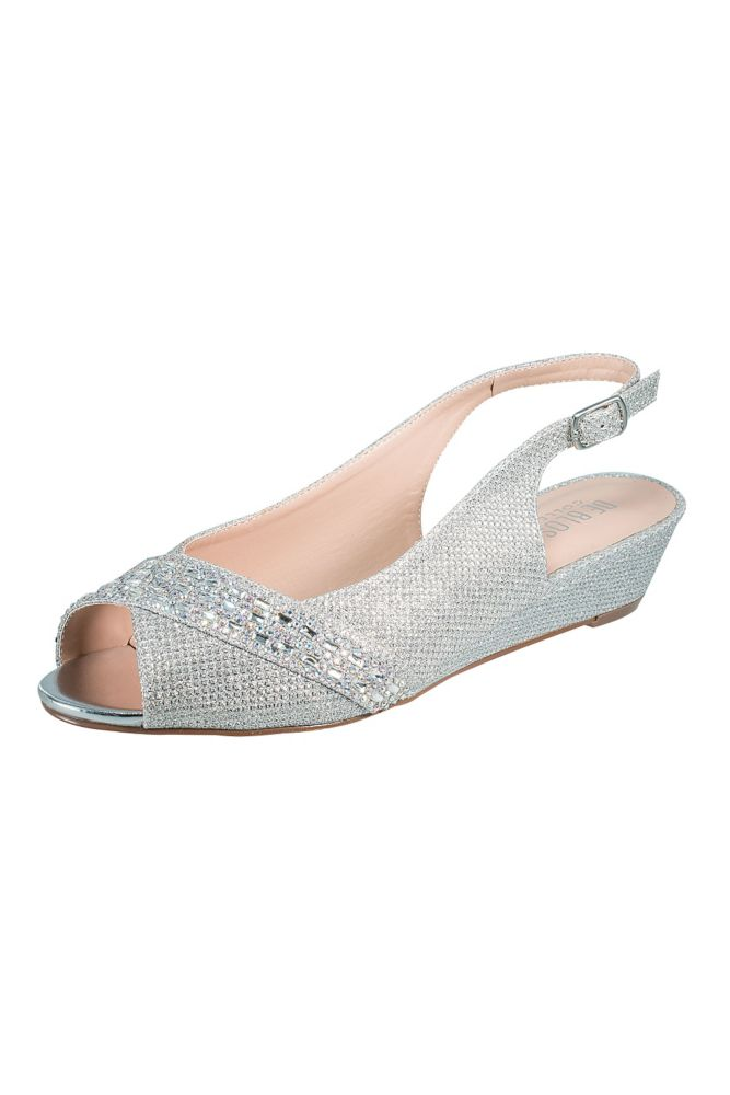 Rhinestone Embellished Low Wedge Slingbacks Silver, 9