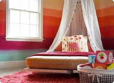 habitacion dormitorio cuarto pintado de rayas multicolor