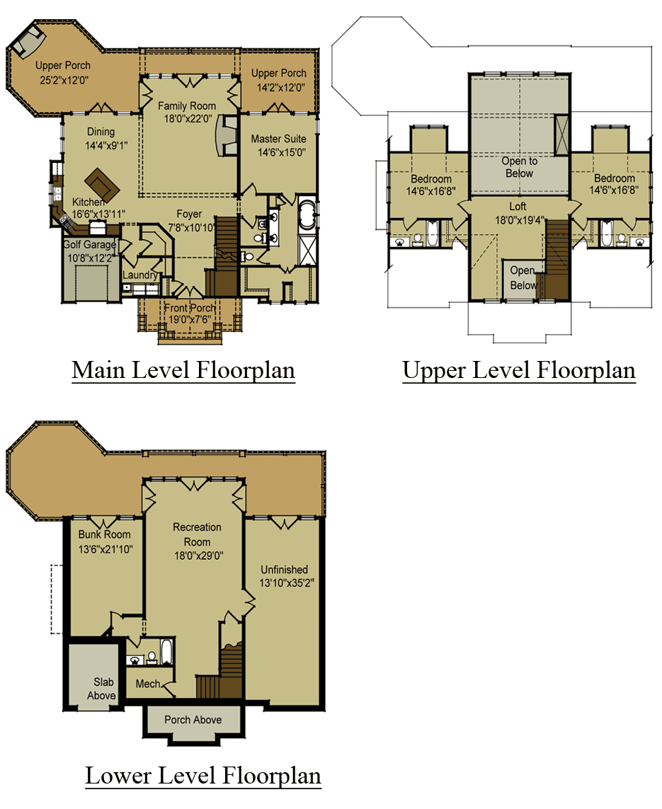3 Story Open Mountain House Floor Plan in 2020 Mountain