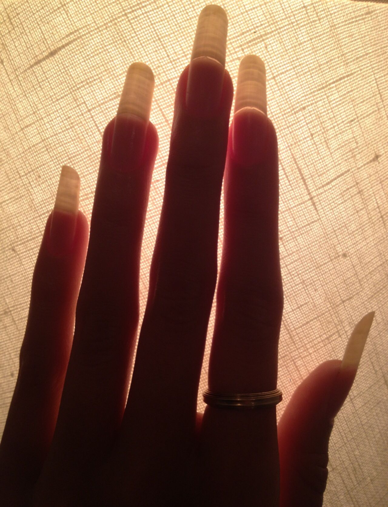Very long round nails you can see the growth lines | Natural Nails ...