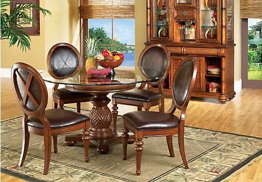 Shop For A Cindy Crawford Home Key West Dark Pedestal 5 Pc Dining Glamorous Rooms To Go Dining Room Set Inspiration