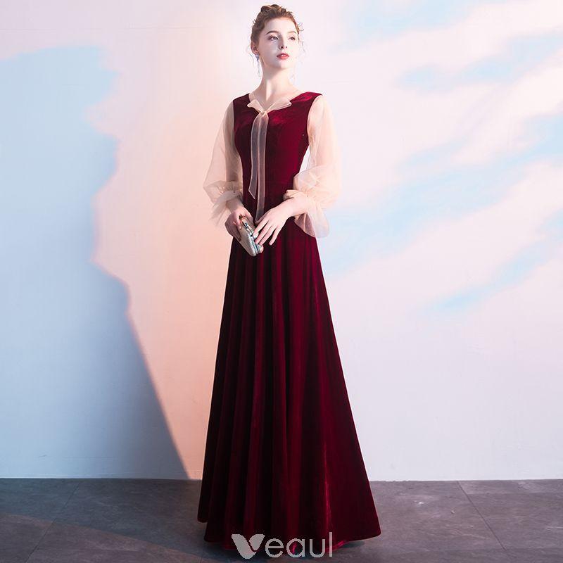 e21a943ee6 Piękne Burgund Sukienki Wieczorowe 2019 Princessa V-Szyja Długie Rękawy  Długie Sukienki Wizytowe