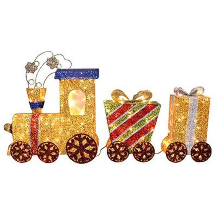 3D Glitter Mesh Gold Lighted Christmas Train Outdoor Lawn Decoration  Ornament - 28