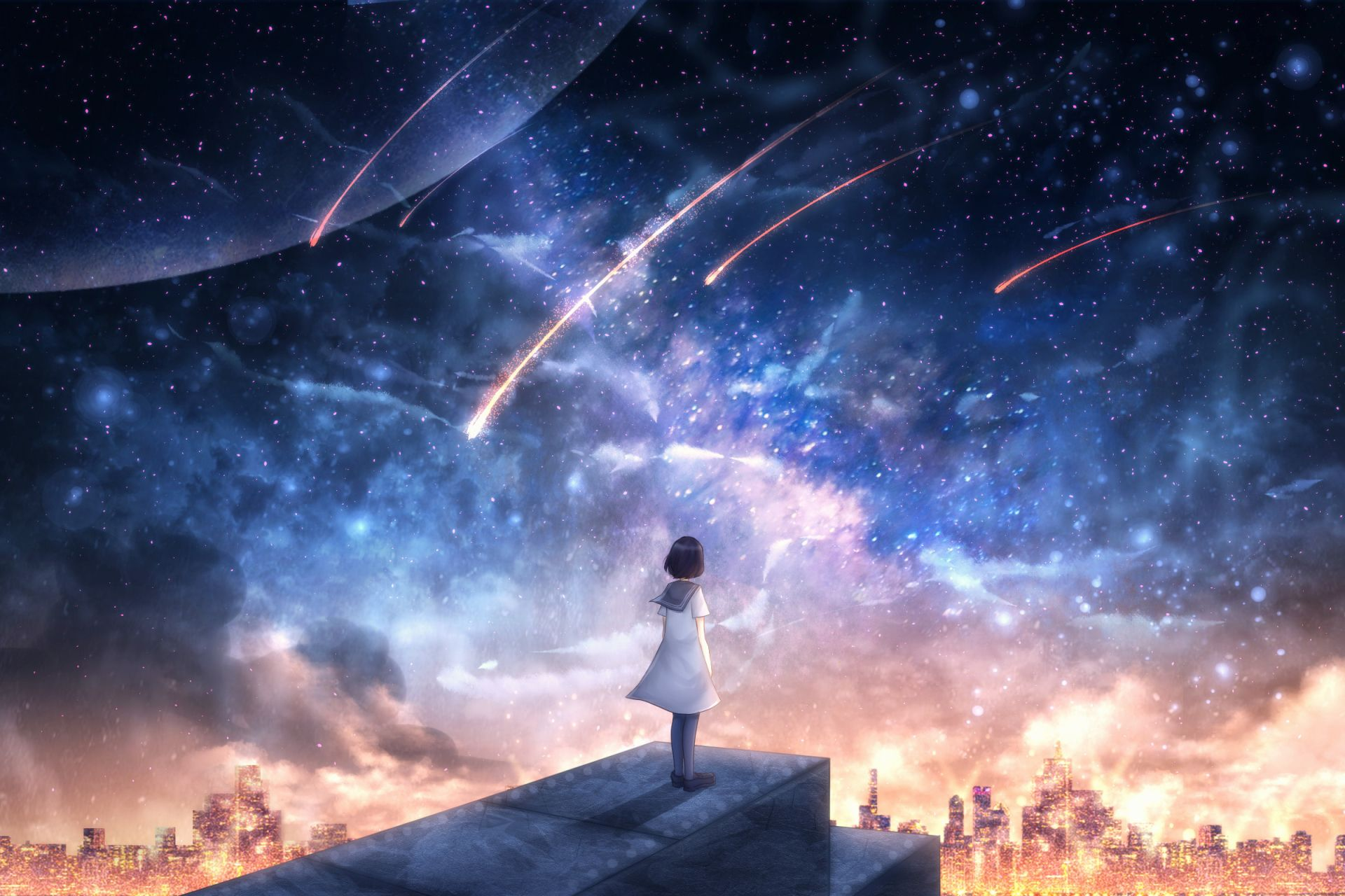 Anime Original Shooting Star Stars City Short Hair Black Hair Wallpaper Anime Artwork Wallpaper Night Sky Wallpaper Anime Backgrounds Wallpapers