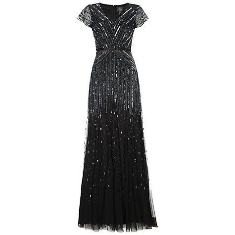 Buy Adrianna Papell Long Sleeve Dress, Gunmetal Online at johnlewis.com