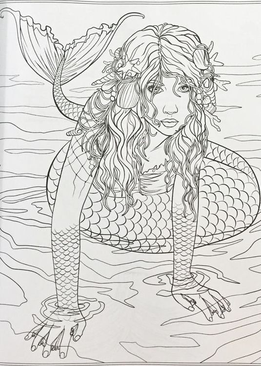 Beautiful Mermaid Adult Coloring Books Sea Creatures Sirens Mermaids Pirates Fish Art Therapy