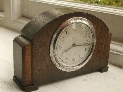 Old Antique Oak Enfield Mechanical Mantle Clock Art Deco English 1930s Vintage Ebay Clock Art Mantle Clock Clock