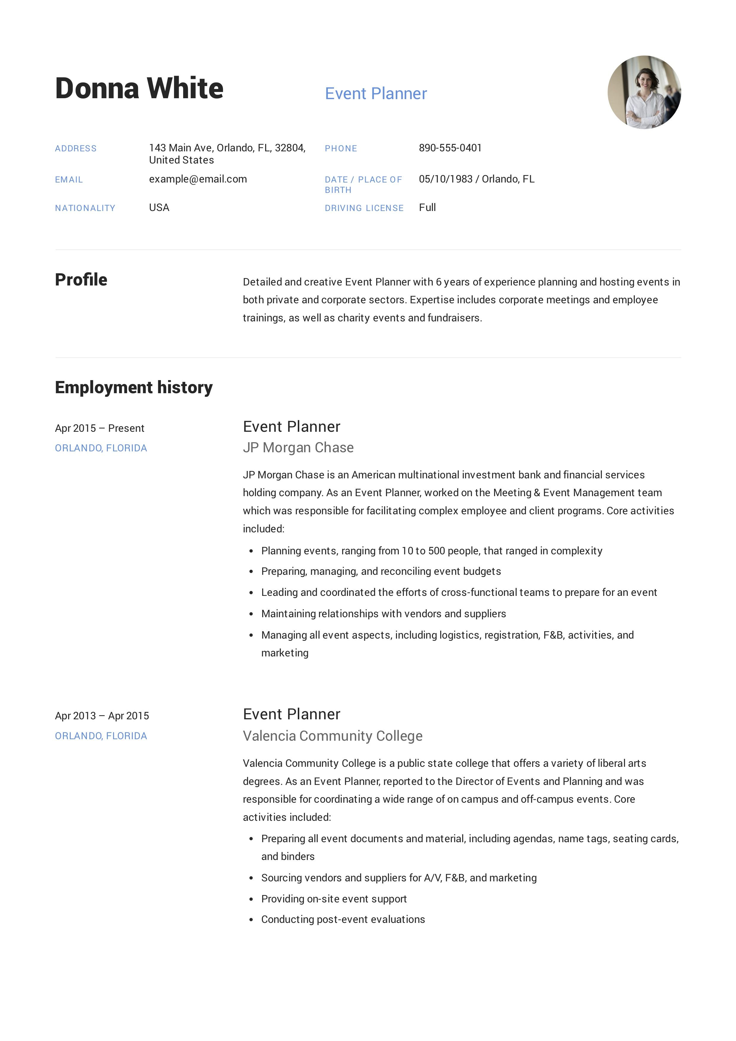 Event Planner Resume Event Planner Resume Resume Event Planner