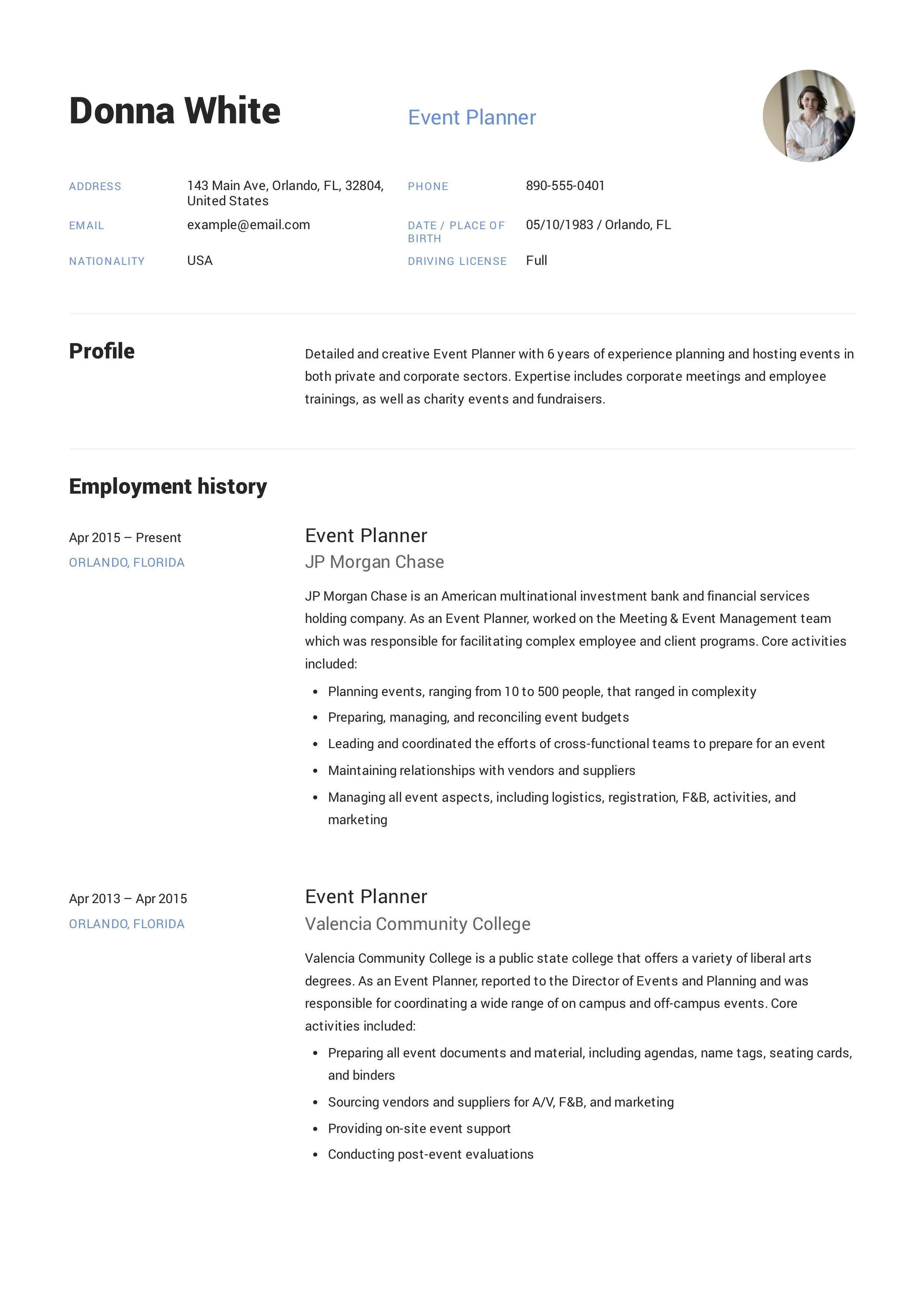 Event Planner Resume Event Planner Resume Resume Event Planner
