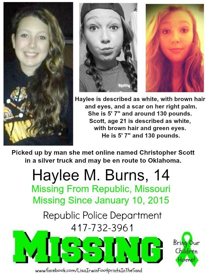 1/10/2015 Haylee M Burns, 14, is #missing from Republic, Missouri