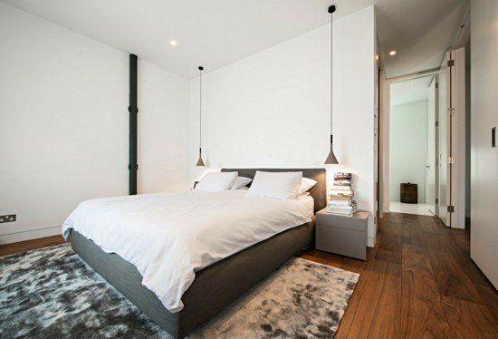 Schlafzimmer Teppich ~ Pendelleuchte schlafzimmer lampen holzboden teppich grau resized