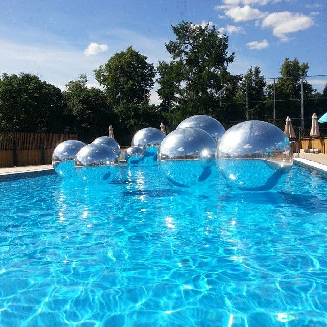 Magical Floating Mirror Balls For The Pool Floating Pool Decorations Pinterest Mirror Ball