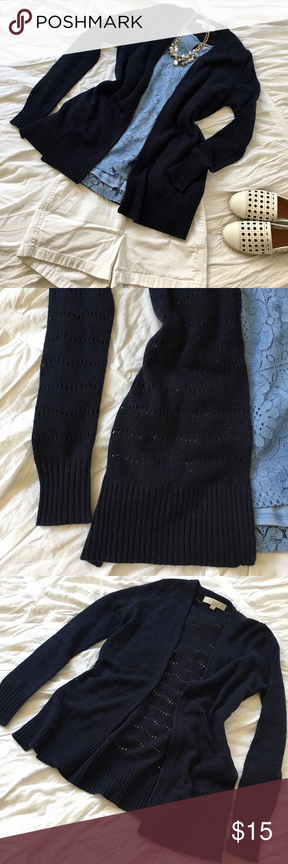 LOFT navy sweater LOFT navy sweater with perforated pattern. Super cute layering piece! Mix of rayon, wool, nylon, and cotton LOFT Sweaters Cardigans