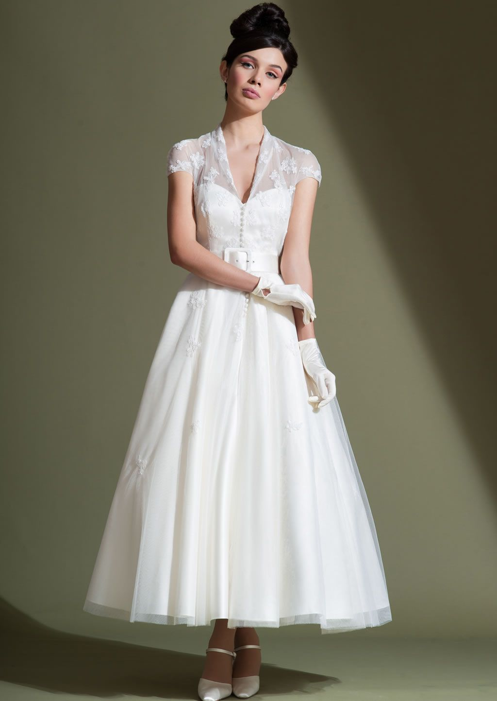 LB51 Audrey - 50\'s length satin dress and vintage inspired applique ...