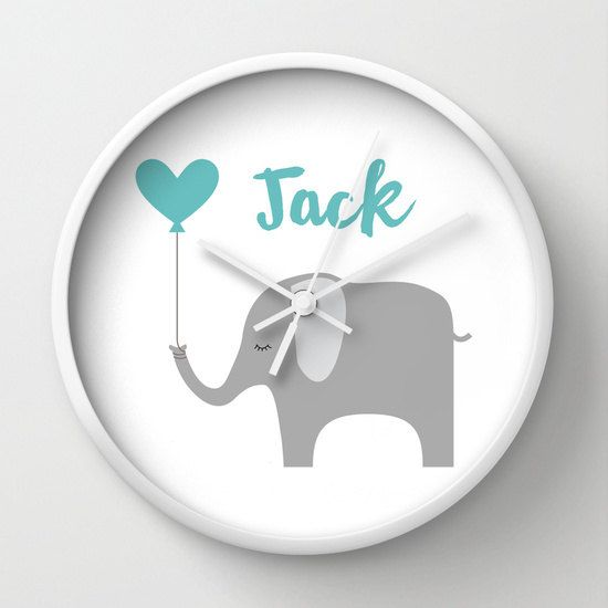 Personalized Nursery Elephant Clock  Custom by KaliLaineDesigns