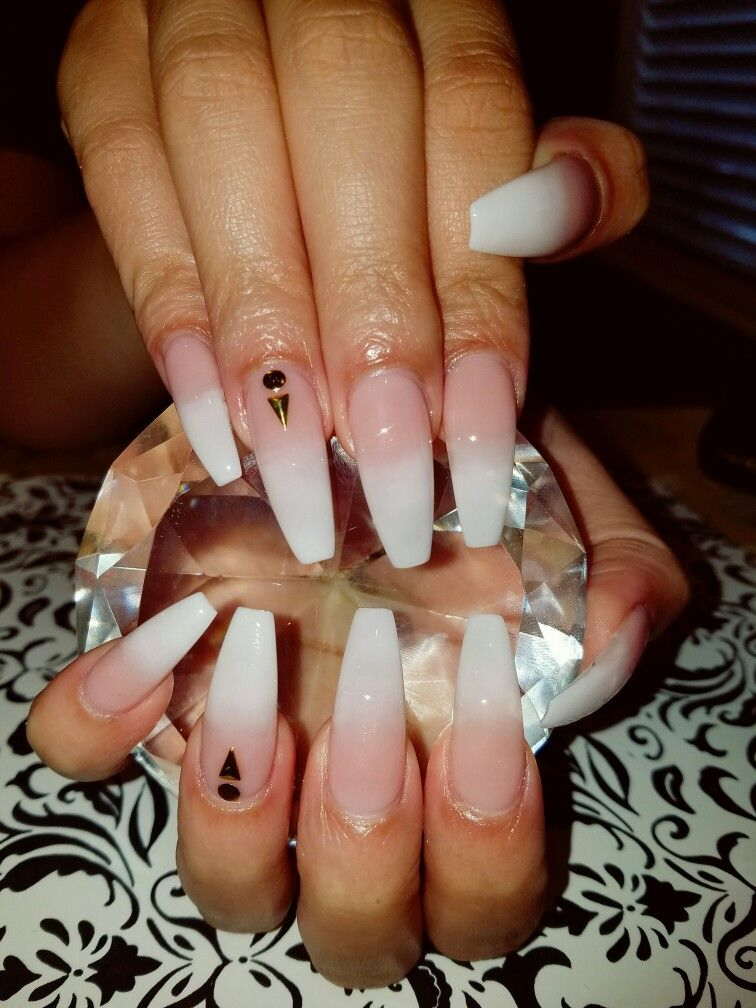 Ombré french coffin nails and gold studs | Flirtatious Nails ...