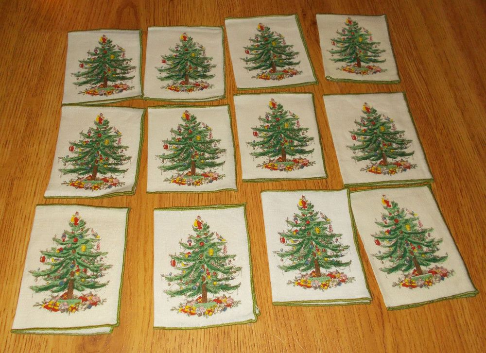 Details about 12 Spode Christmas Tree Cloth Linen Cocktail napkins