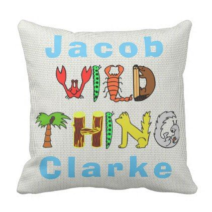 Bold colorful wild thing personalized name baby throw pillow negle Image collections