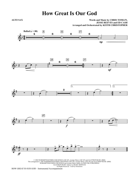 How Great Is Our God - Alto Sax | Sheet Music in 2019 | Alto