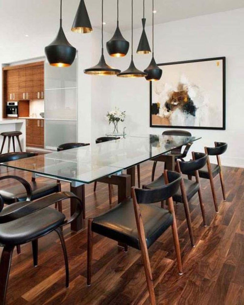 Dining Room Black Pendant Glass Dining Table Bar Stool Wooden
