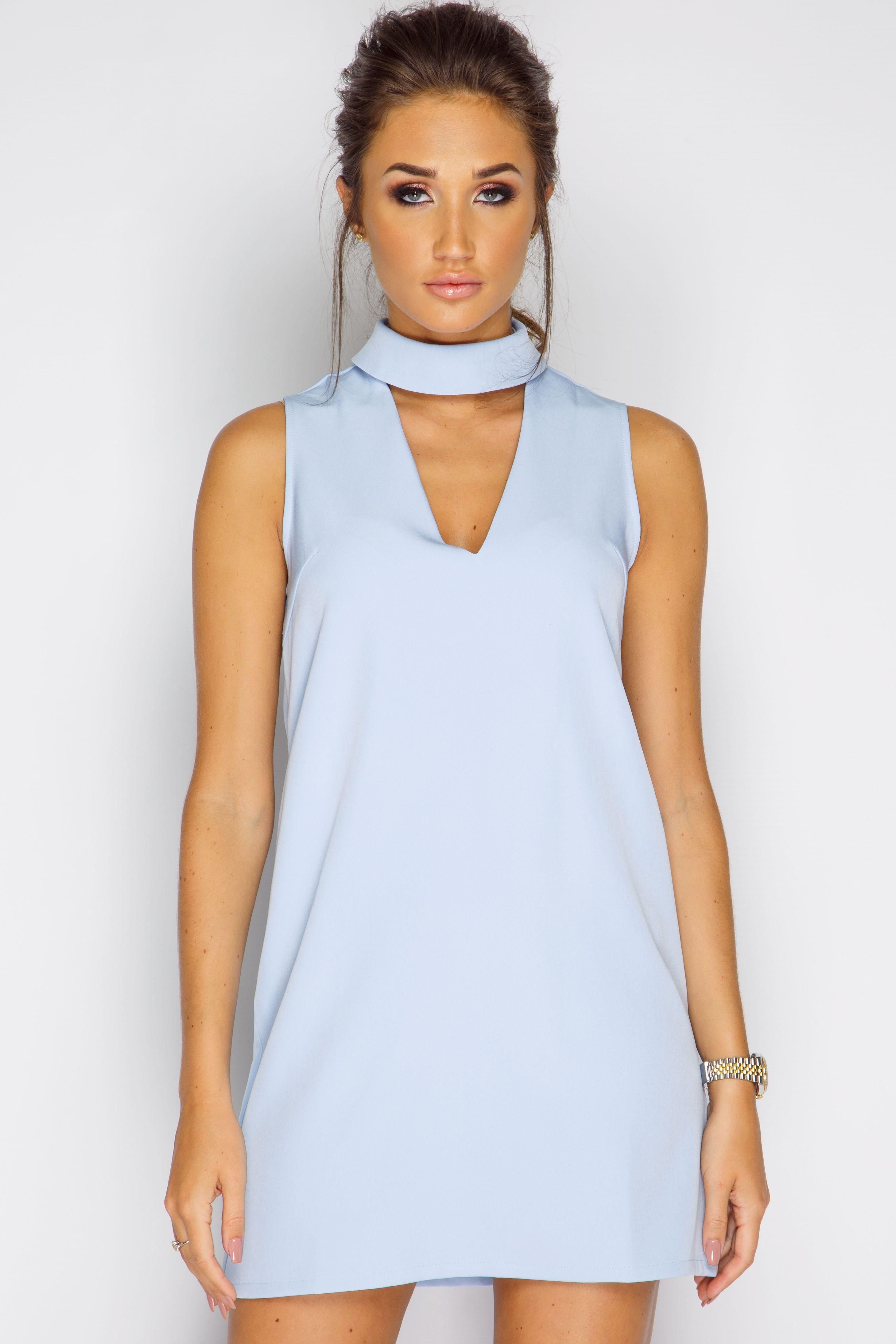 2af2098b1c6147 Megan McKenna Powder Blue V Front Dress at misspap.co.uk