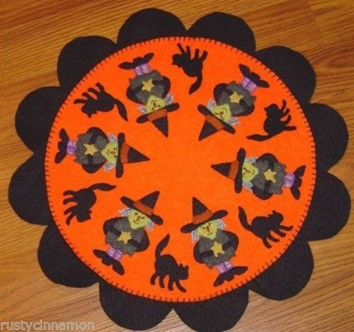 primitive halloween which witch penny rug pattern by rusty cinnamon table mat - Halloween Rugs