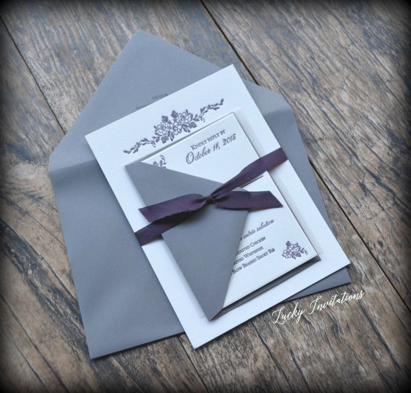 Plum and gray letterpress wedding invitations with a floral motif ...