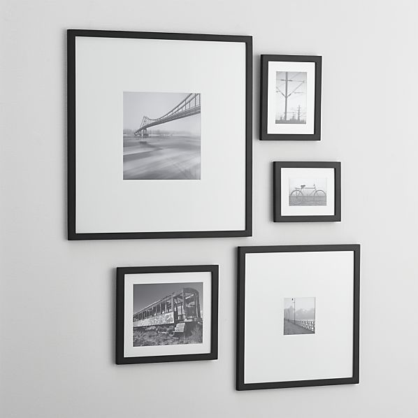 5 Piece Matte Black Picture Frame Set By Crate And Barrel Picture Frame Wall Black Picture Frames Frames On Wall