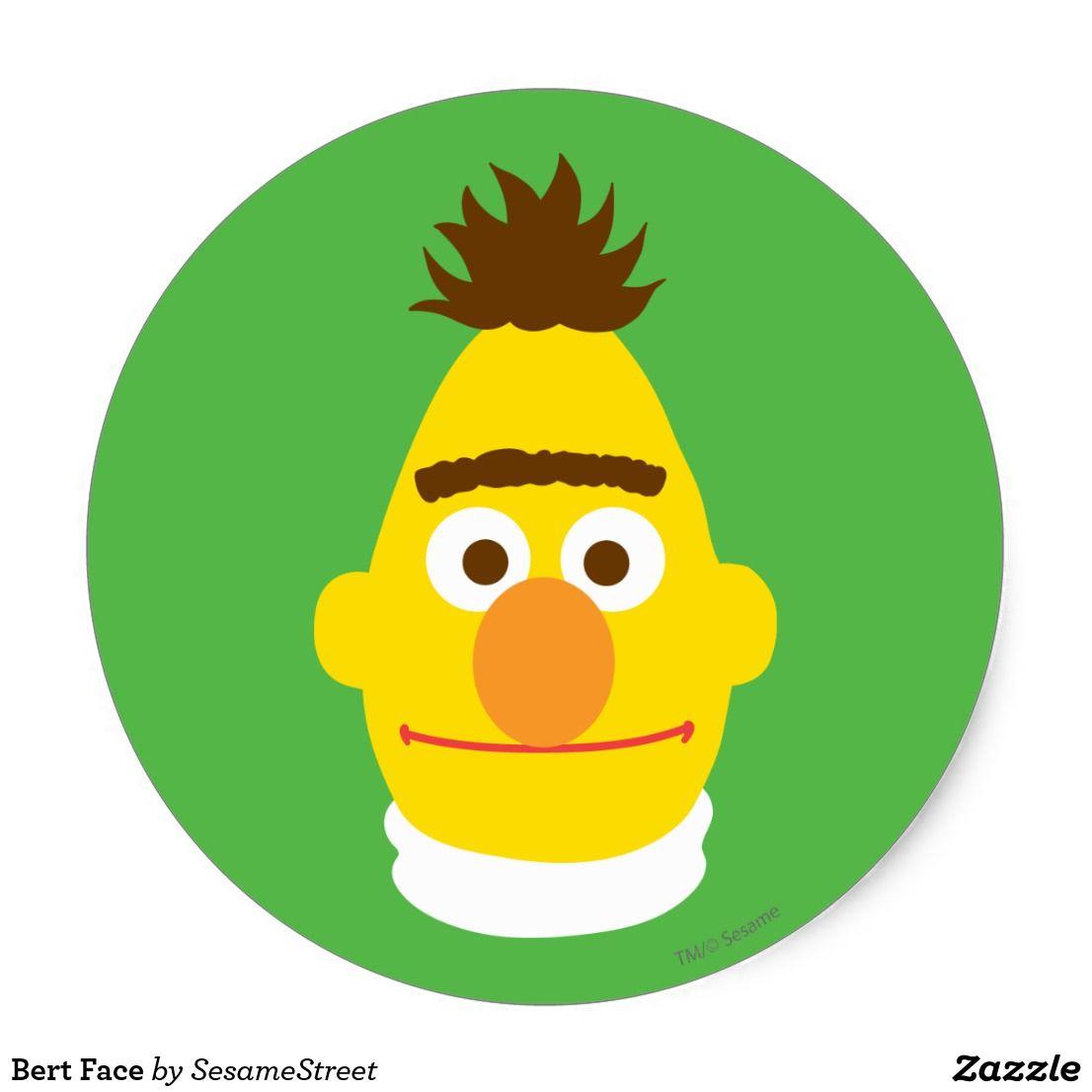 Bert Face Classic Round Sticker   Zazzle.com in 2020