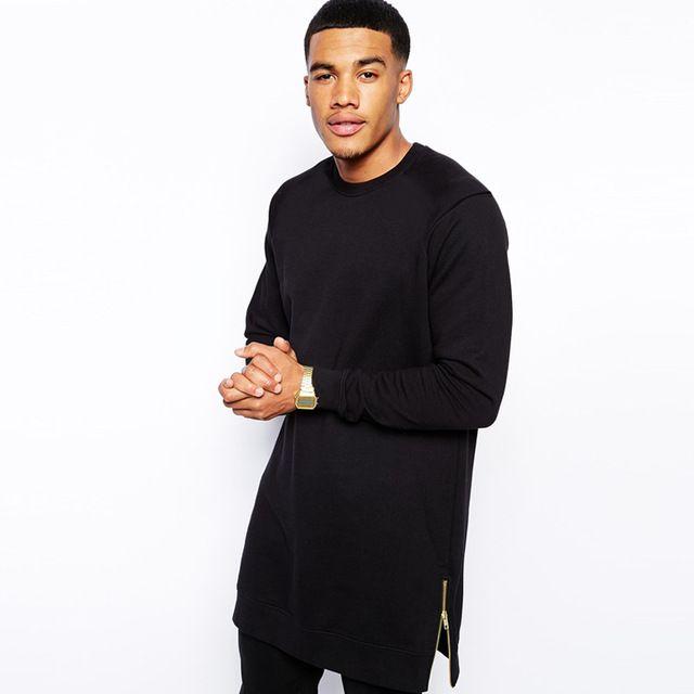 Alto sudadera primavera otoño fina moda hiphop sudaderas de color Negro con  cremallera lateral 2016 Envío