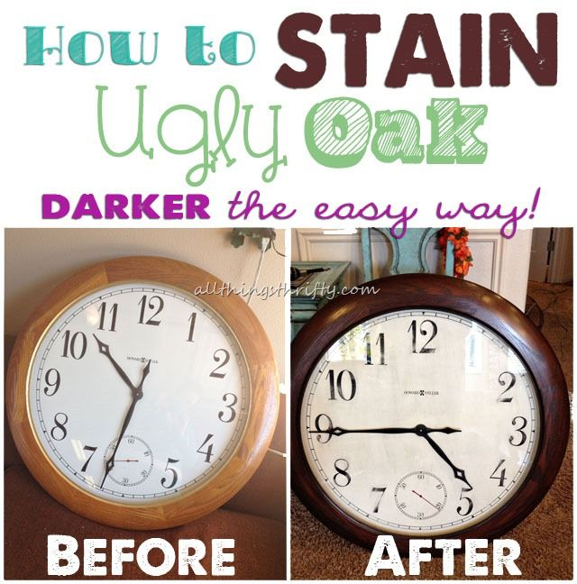 How to Stain UGLY Oak Wood Darker {easily} | Dark, Woods and Craft