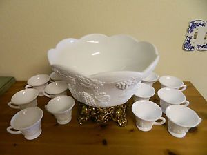 Indiana Milk Glass Colony Harvest Grape Punch Bowl Set W Pitman