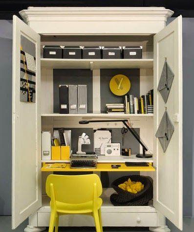 Un bureau dans le placard am nagement studios - Transformer une armoire en bureau ...