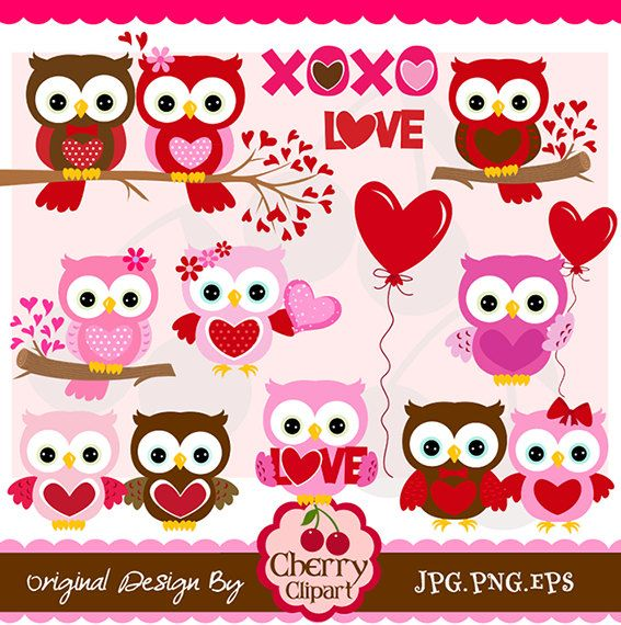 Valentines Day Sweet Owls digital clipart setPersonal and – Owl Valentine Card