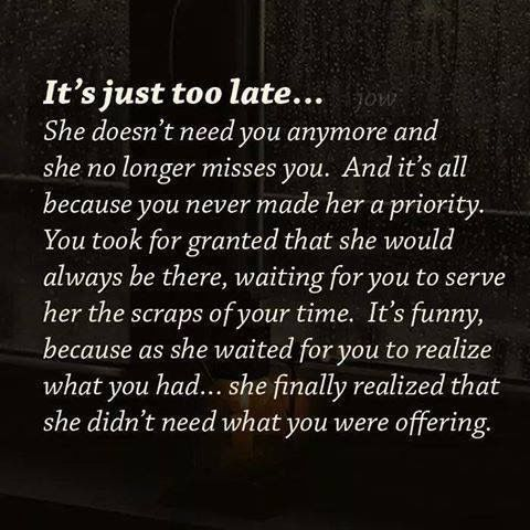 Best Inspirational Quotes About Life Quotation Image Quotes Of The Day Life Quote Way Too Late And I Dont Need You