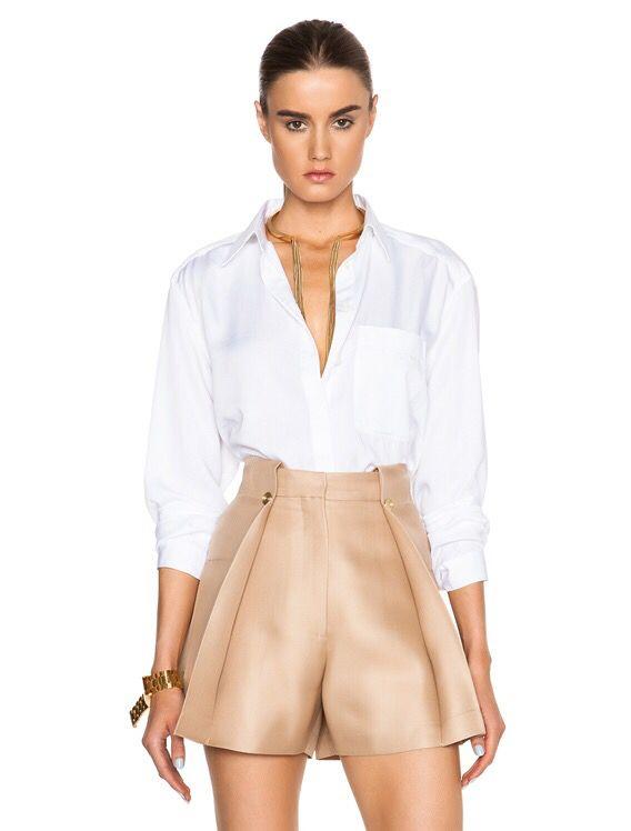 Acne Studios. Addle denim blouse in white.