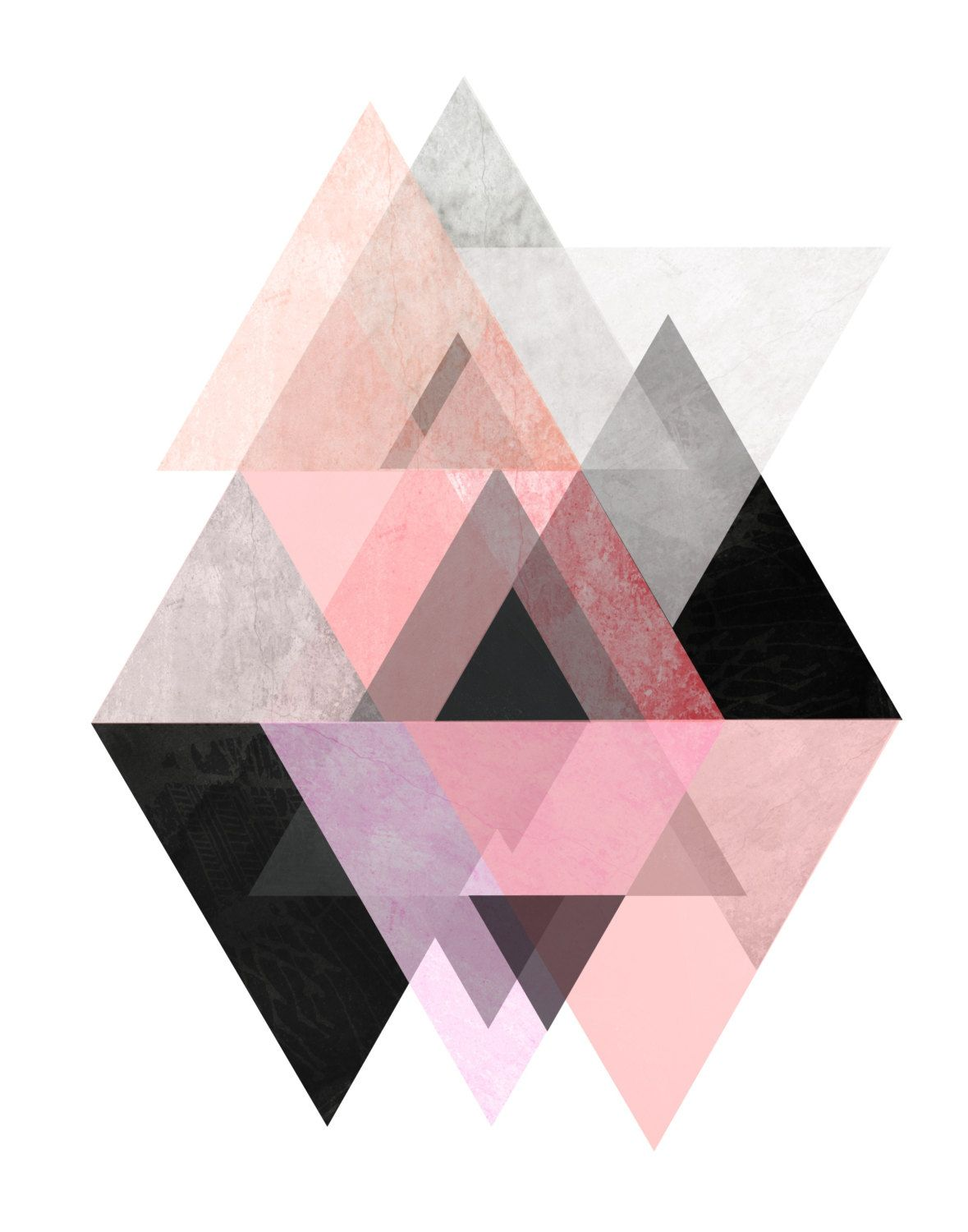 triangle wall art pink and grey art scandinavian design geometric
