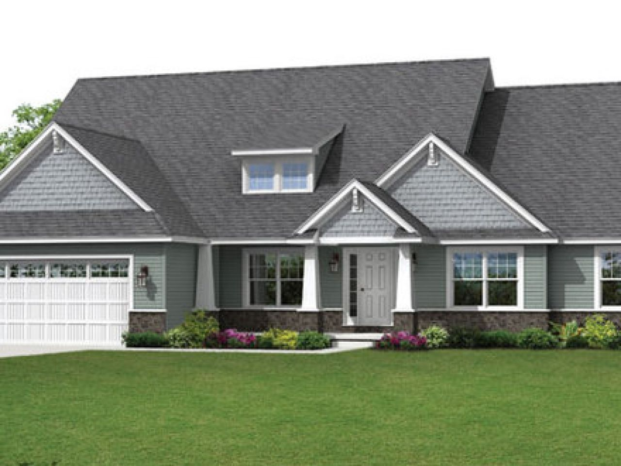 Rustic Brick Homes Craftsman Ranch Style House Plans Garage Best
